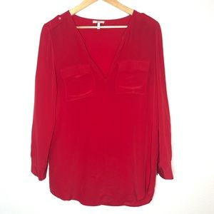 Joie Red Silk V Neck Top